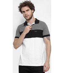 camisa polo jimmy'z tricolor masculina