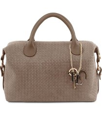 tuscany leather tl141885 tl keyluck - maxi bauletto in pelle stampa intrecciata talpa scuro