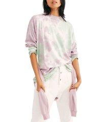 women's free people be free tie dye oversize long sleeve t-shirt, size small - purple