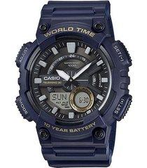 reloj casio modelo analogo digital azul hombre