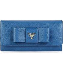 prada women's leather wallet - blue