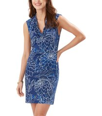 tommy bahama bungalow blooms printed cowlneck shift dress