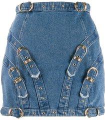 versace jeans couture buckle detail mini skirt - blue