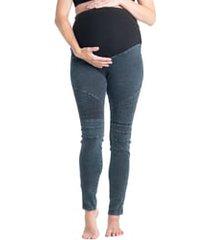 women's preggo leggings moto maternity leggings, size x-large - blue