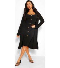 kraagloze duster ja en midi jurk met knopen set, zwart