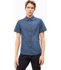 camisa regular core dark indigo azul calvin klein