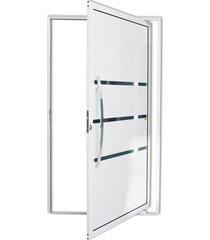porta pivotante esquerda com lambri e puxador em alumínio evolution 210x120cm branca