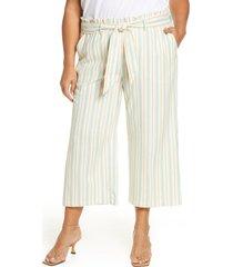 plus size women's single thread stripe paperbag waist pants, size 3x - orange