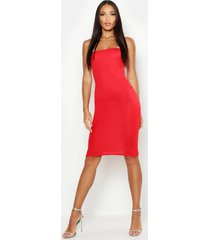 bandeau midi dress, red