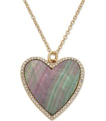 "effy mother-of-pearl & diamond (1/8 ct. t.w.) heart pendant necklace in 14k gold, 16"" + 2"" extender"