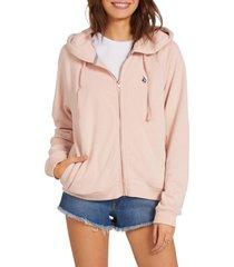 women's volcom moonstoned zip-up hoodie, size large - pink