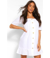 broiderie anglais button through smock dress, white