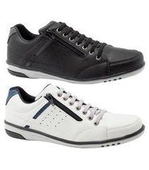 kit 2 sapatênis masculino casual preto e gelo com ziper e elástico 750