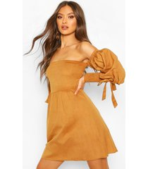 linen off shoulder shirred sleeve mini dress, tan