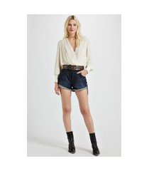 short jeans boy com ziper frontal puxador jeans - 40
