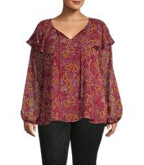 bobeau women's plus darla chiffon blouse - marsala - size 5x (30-32)