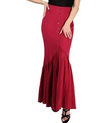 french bazaar high waisted long pleated button skirt
