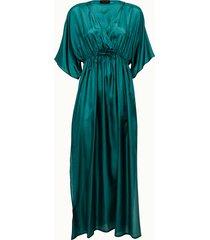 roberto collina abito lungo in seta turchese