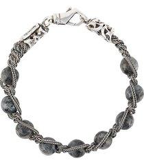 emanuele bicocchi beaded braided-chain bracelet - grey