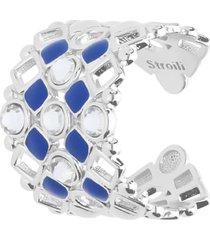 anello regolabile in ottone rodiato con cristalli e smalto blu per donna