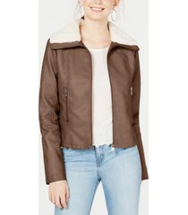 coffeeshop juniors' faux-fur-collar moto jacket, created for macy's