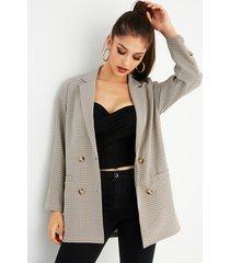 khaki grid notch collar long sleeves blazer