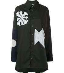 ambush patchwork oversized shirt - black