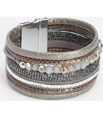 maurices womens gray multi row beaded magnetic bracelet