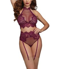 dreamgirl women's bra with halter neckline and matching high-waisted garter panty