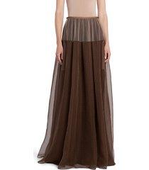 women's fendi check silk & tulle maxi skirt, size 6 us / 42 it - brown
