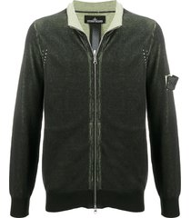 stone island shadow project zip up ink-dyed sweater - black