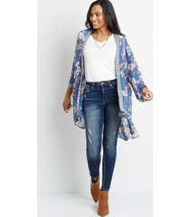 maurices womens blue floral open front kimono