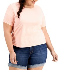 style & co plus size cotton crewneck t-shirt, created for macy's
