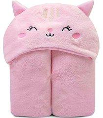 cobertor microfibra mami bichuus com capuz papi rosa - kanui