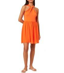 french connection panthea halter dress, size 0 in sunshine orange at nordstrom