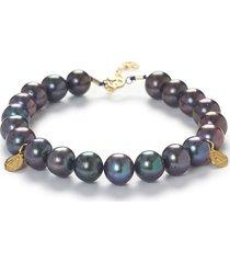 the alkemistry peacock pearl bracelet - grey