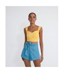 blusa regata cropped em algodão com lastex nas costas | blue steel | amarelo | gg