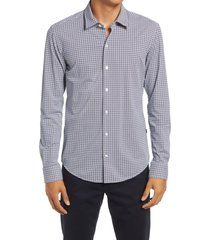 boss robbie sharp fit print button-up shirt, size x-large in dark blue at nordstrom