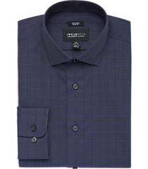 awearness kenneth cole blue & black plaid slim fit dress shirt