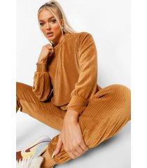 petite geribbelde velours oversized sweater, chocolate