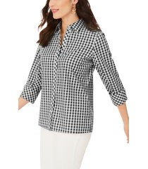 women's foxcroft britten gingham non-iron button-up blouse, size 10 - black