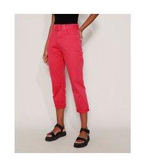 calça de sarja feminina mom cintura super alta com cinto pink