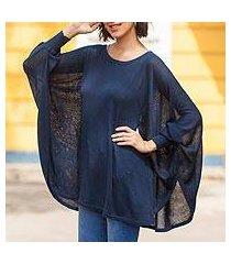 cotton blend sweater, 'ocean breeze' (peru)