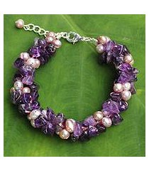 cultured pearl and amethyst beaded bracelet, 'gracious lady' (thailand)