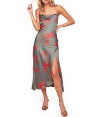 women's astr the label gaia strappy bias cut satin midi dress