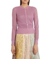 women's dolce & gabbana metallic pointelle cardigan, size 6 us - pink