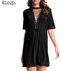 zanzea mujeres gargantilla profundo escote en v de encaje camisa sueltos vestido del vendaje de bodycon del mini vestido de fiesta -negro