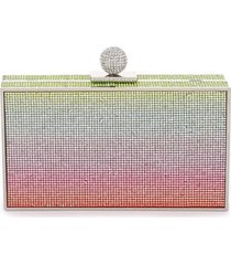 clara rainbow crystal box clutch