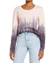 women's treasure & bond tie dye long sleeve shirt, size xx-small - pink