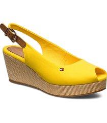 iconic elba sling back wedge sandalette med klack espadrilles gul tommy hilfiger